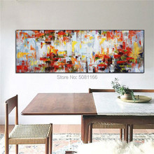 Big 100% hand-painted floral abstract oil painting flowers red modern wall art living room picture home decoration