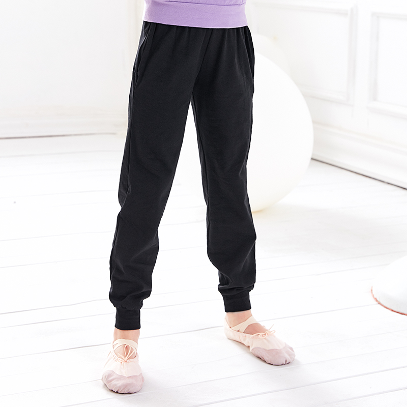 Girls Kid Ballet Dance Pants Cotton Black Children Mid Waist Hiphop Gymnastic Pants Casual Capri Trousers