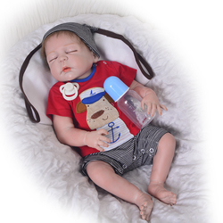23 Inch Realistic Reborn Babies Doll Full Silicone Body Vinyl Lifelike Boy Baby Alive Dolls With Closed Eyes Kids Birthday Gifts