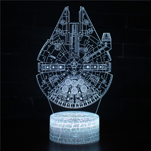 Star Wars Millennium Falcon 3d Night Light Visual Stereo Led Bedside Table Lamp White base Lovely 7 color change 3D Lamp