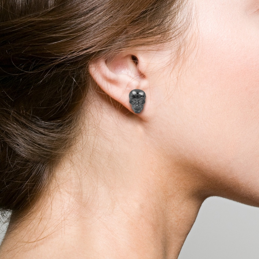 OBSEDE Punk Skull Earrings for Men Boys Cool Silver Jewelry Hip-hop Stud Earrings Vintage Rock Skeleton Earrings