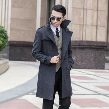 Grey korean long sleeve Medium-long wool coat men jackets and coats mens slim wool winter double-breasted trench coats S – 9XL