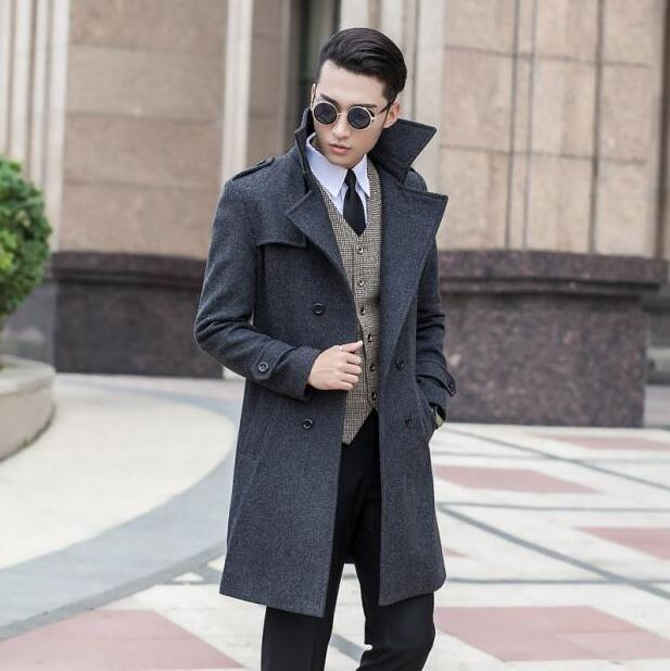 Grey korean long sleeve Medium-long wool coat men jackets and coats mens slim wool winter double-breasted trench coats S - 9XL