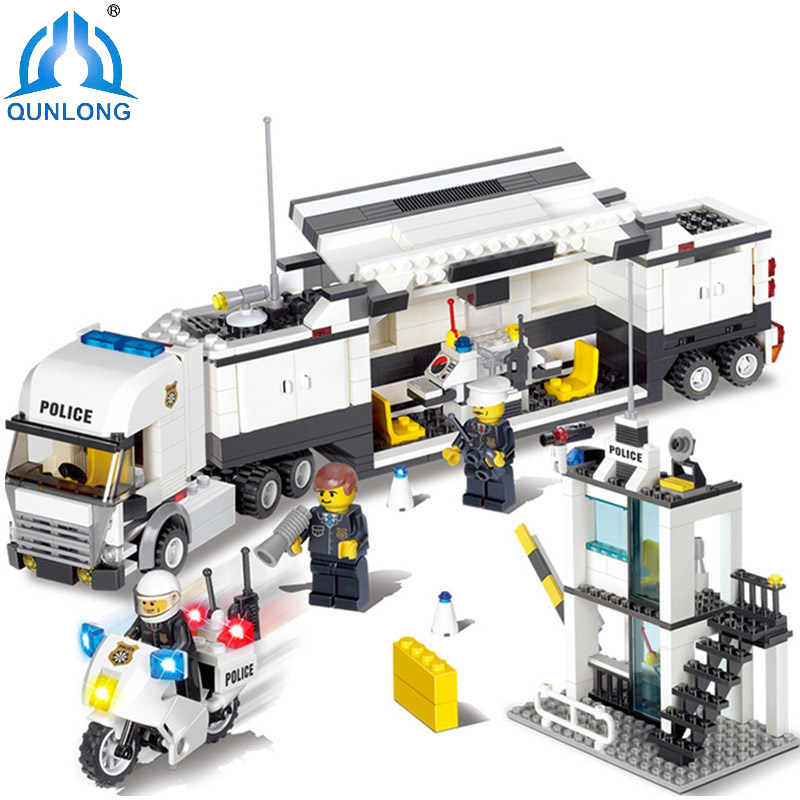 Qunlong Police Station Modle Building City Blocks Toys For Children DIY Bricks Sets Educational Compatible Mine World Crafted 407pcs sets city police station building blocks bricks educational boys diy toys birthday brinquedos christmas gift toy