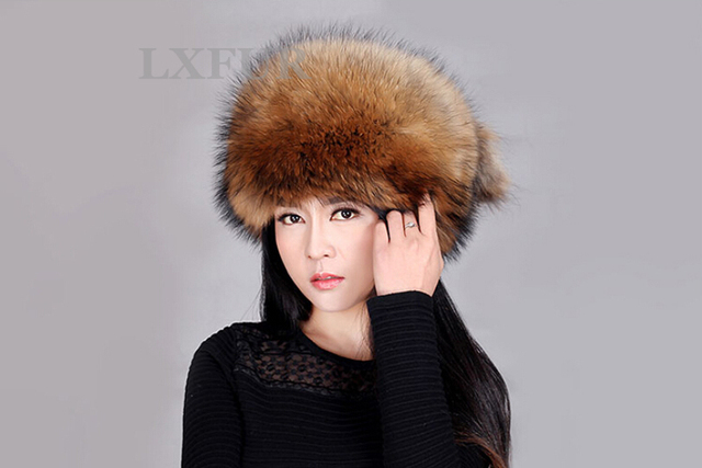 Classic 100% Real Fox Fur Cap Ladies Winter Genuine Raccoon Fur Hat With Tail Warm Women Fur Headwear AU00248