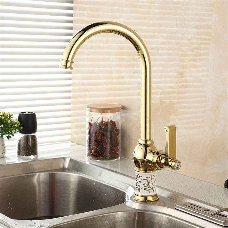 Kitchen Faucets Golden Copper For Cold and Hot Water Tap Sink Faucet Swivel 360 Degree Water Mixer Tap Brass Kitchen Faucet
