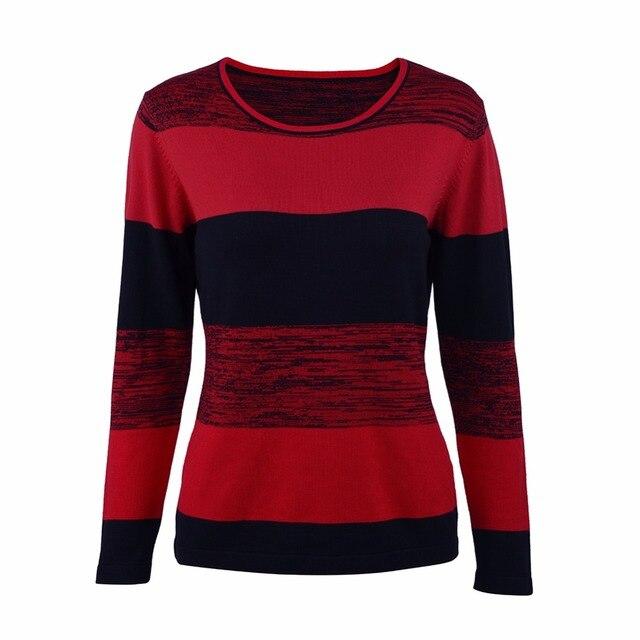 f42f8a19a5 Frauen Oansatz Gestrickte Pullover Weibliche Gestrickte Schlank Pullover  Rot Weiß Damen Grund Gestreiften Langarm Herbst Winter