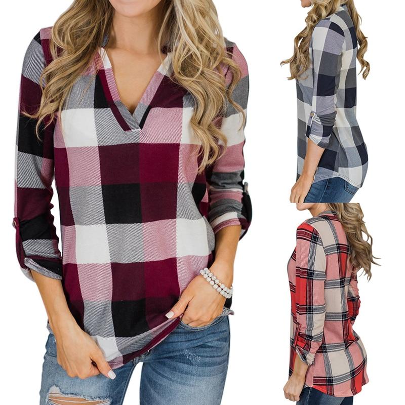 Women's Clothing Autumn Plaid Womens Blouse Lattice Shirt Women Casual Coat Camisas Mujer Top Female Ladies Tops Chemise Femme Camisa Feminina Up-To-Date Styling
