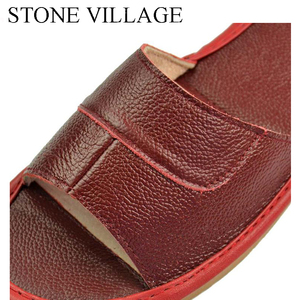 Image 5 - 스톤 빌리지 정품 가죽 신발 홈 슬리퍼 고품질 암소 가죽 실내 신발 남성과 여성 신발 여름 크기 35 45