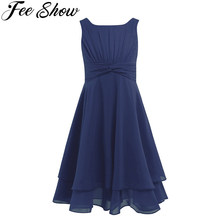Горячая распродажа, темно синее шифоновое платье для маленьких девочек с узлом на талии и рюшами, летнее платье для девочек с цветами, мятно зеленая детская одежда, 6 цветов