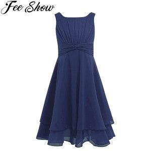 Image 1 - 4 14Y gorąca sprzedaży granatowy niebieski maluch dziewczyny szyfonu wiązane talii Ruched kwiat dziewczyna letnia sukienka mięta zielona ubrania dla dzieci 6 kolory