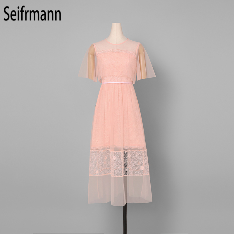 Seifrmann Women Spring Summer Dress Runway Fashion Designer Flare Sleeve Lace Hollow Out Mesh Overlay Elegant Party Pink Dresses in Dresses from Women 39 s Clothing