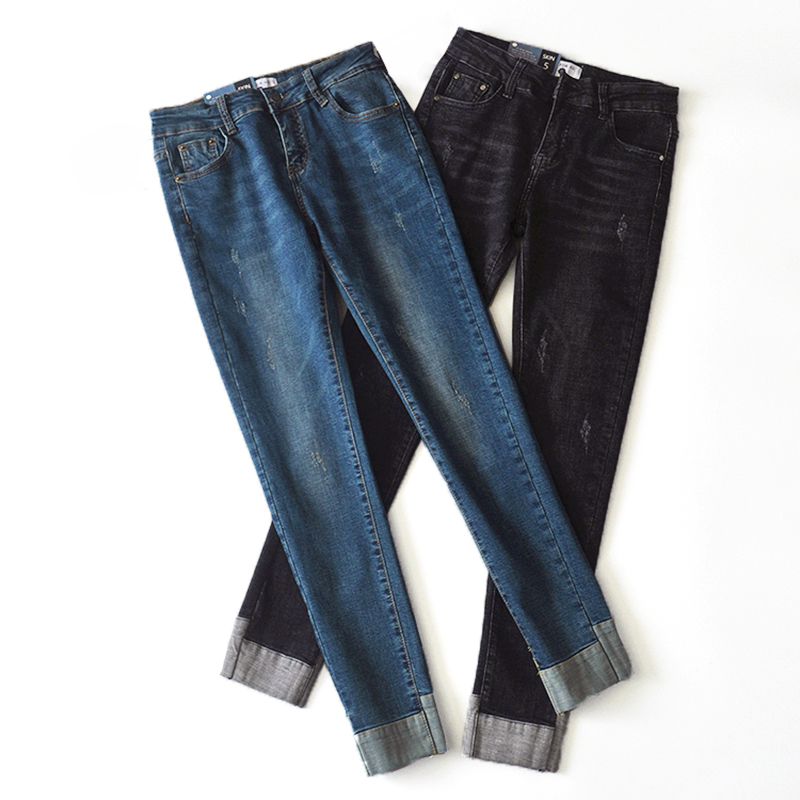 Women Vintage style Mid Waist Jeans Elastic Femme Washed Blue Denim Skinny Jeans Classic Pencil Pants black spring autumn womem s skinny elastic buttons washed ripped jeans embroidered mid waist full length denim jeans pencil pants