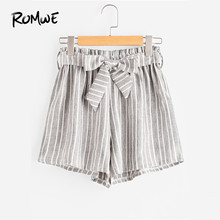 ROMWE Vertical Striped Elastic Waist Self Tie Front Shorts Womens Grey High Waist Shorts Summer Straight Shorts(China)