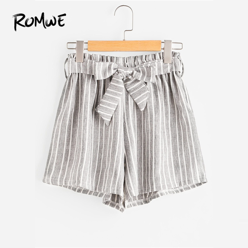 ROMWE Vertical Striped Elastic Waist Self Tie Front Shorts Womens Grey High Waist Shorts Summer Straight Shorts
