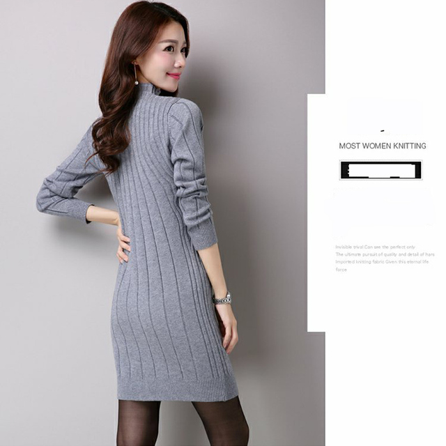 Ladies Plus Size Long-Sleeve Long-Sweaters 2018 Fall Lagenlook Casual Turtleneck Solid Color Thickening Sweater Dress 1