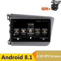 9 2.5D IPS screen Android 8.1 Car DVD Player GPS For Honda Civic 2012 2015 audio car radio stereo navigator wifi bluetooth