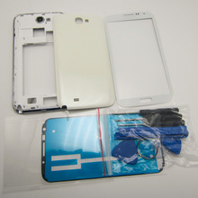 Black/White Full Housing Cover Repair Parts & Outer Glass & Repair Tools For Samsung Galaxy Note 2 II N7100