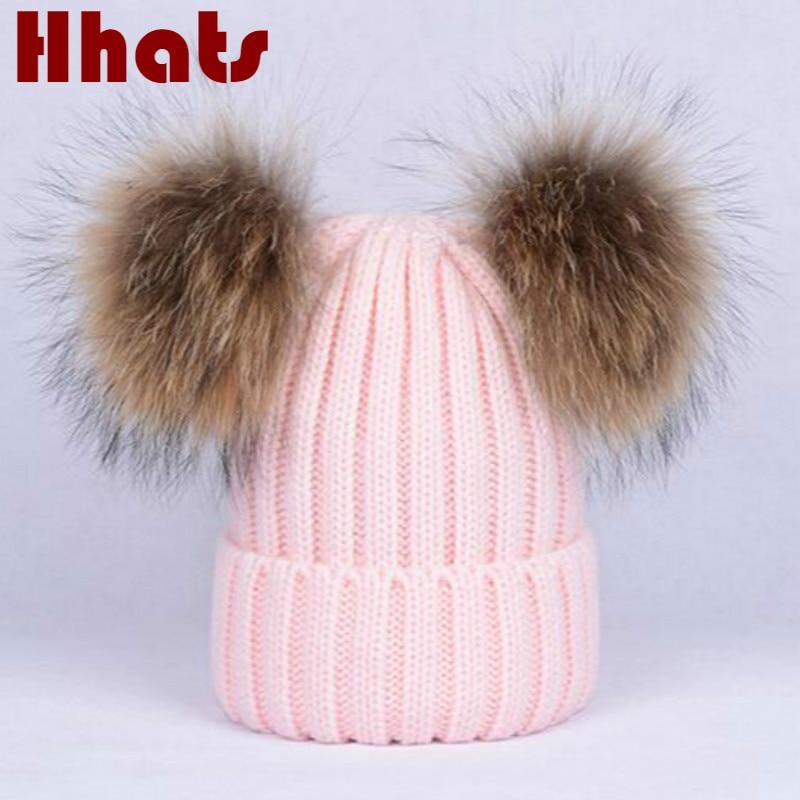 double large real raccoon fur female cap fashion two genuine fur pom pom women hat thick warm bobble girl knit   skullies     beanie