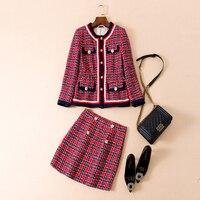 High Quality Brand New Women's Plaid Woolen Jacket+Skirt Set 2018 Autumn Winter Two Piece Outfits Designers Runway Sets