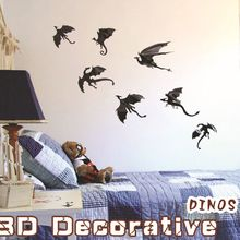 7pcs Fantasy Dragon Silhouettes Halloween 3D Dinosaurs Wall Art