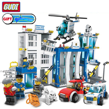 Gudi City Police Series Building Blocks Compatible Helicopter Figures Bricks Assembled Educational Toys For Children Collection gudi police to track suspect the culprits educational blocks fight inserted building blocks assembled toys