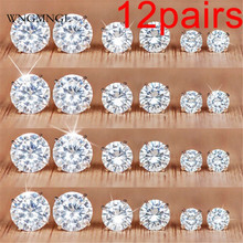 WNGMNGL 12 Pairs/Set Fashion Cubic Zirconia Stud Earrings Set For Woman Simple Round Silver Color Wedding Jewelry Gift
