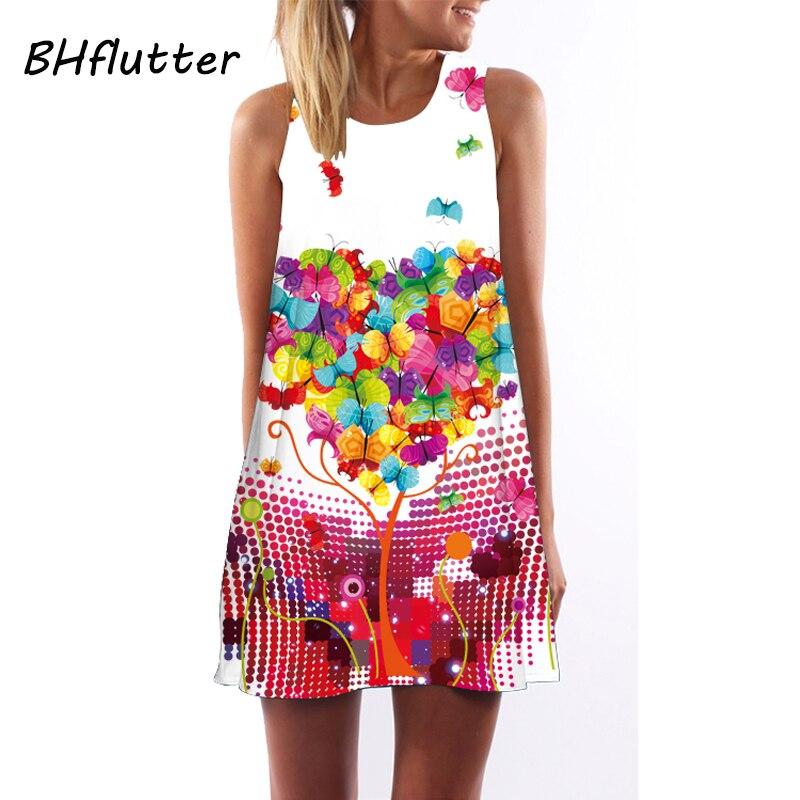 BHflutter Nette Rosa Kleid Prairie Chic Frauen Kleid Blumendruck ...