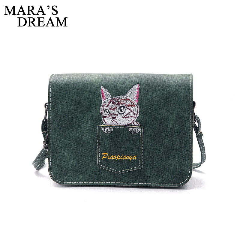Mara's Dream Shoulder Bag Women Brand PU Leather Handbag Fashion Pocket Cat Embroidered Lady Crossbody Messenger Bag Day Clutch