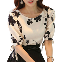Women Shirt Summer Tops Floral Black White Embroidered Chiffon Blouses Plus Size Bow Half Sleeve Shirt