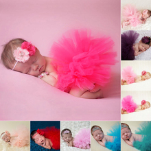 Newborn Baby Tutu Skirt Handmade Crochet Flower Cap Headband and Tutu Skirts for Baby Girls Photo Props Fotografia