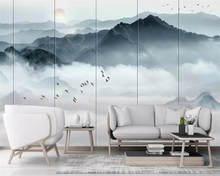 beibehang Customized 2019 Nordic wall papers home decor hand-painted new Chinese ink landscape cloud mood background wallpaper