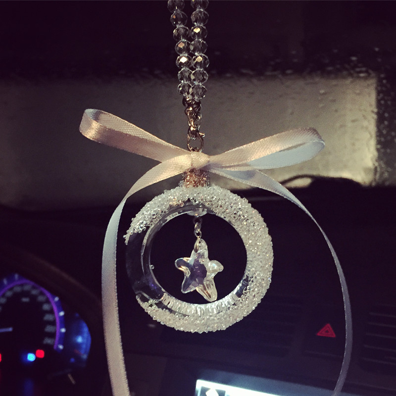 Cristal transparente Bowknot Coche Retrovisor Espejo Estrella Adornos - Accesorios de interior de coche