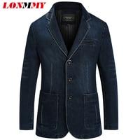 LONMMY Jeans blazer men 80% Cotton Cowboy jacket Denim jacket men blazer Suits for men jaqueta Brand clothing Fashion M 4XL