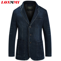 LONMMY Jeans blazer men 80% Cotton Cowboy jacket Denim jacket men blazer Suits for men jaqueta Brand clothing Fashion M 4XL