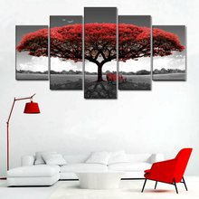 Drop Ship HD Printed Red Tree Art Scenery Landscape Modular High Quality Picture Large Canvas Painting for Home Wall Decor