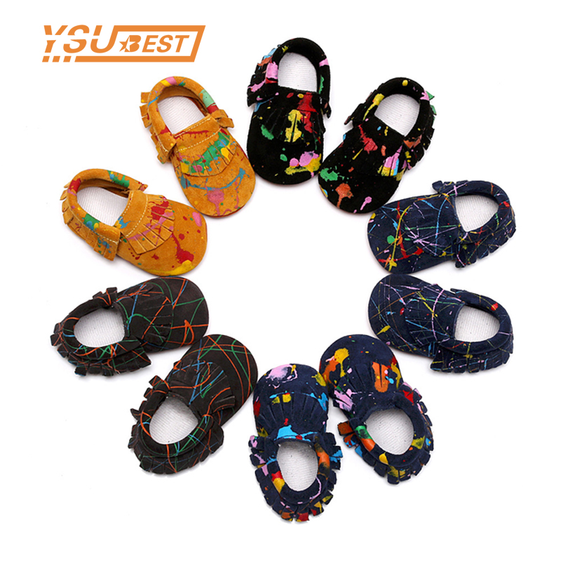 2017 Baby Moccasins New Graffiti Tassel Suede Genuine Leather Newborn First Walkers Soft Sole Baby Infant Kids Moccasins Shoes