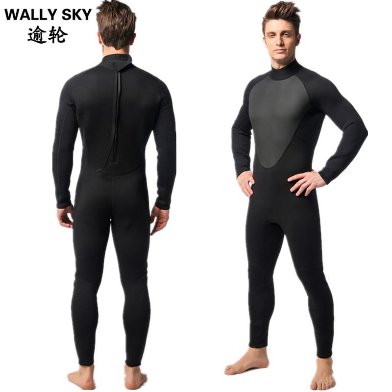 Black 3mm Neoprene Scuba Dive Wetsuit For Men Spearfishing Wet Suit Surf Diving Equipment Long Sleeve Jumpsuit sbart 3mm neoprene men s dive wetsuits one piece men spearfishing diving wet suits surf equipment back yzz zipper sport wetsuits