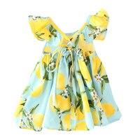 2017 Popular Summer Printed Floral Princess Petal Sleeve Dress Cute Toddler Kids Girls Sweet Baby Mini Dresses 3 Style