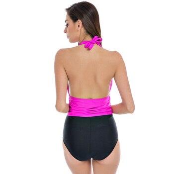 NAKIAEOI One Piece Swimsuit Plus Size Swimwear Women High Waisted Bathing Suits Beachwear Backless Halter Vintage Swim Wear 2