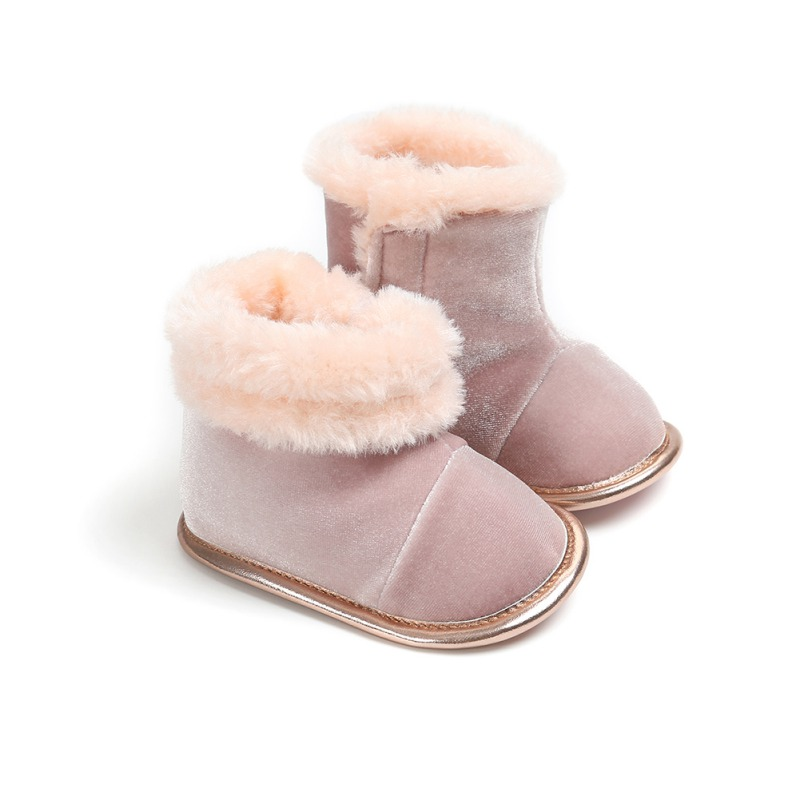 2020 Winter New Baby Boots Newborn Solid Color Plus Velvet Warm Boots Baby Soft Bottom Non-Slip Toddler Boots