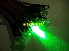 500 шт., 3 мм, 12 В, зеленый, прозрачный, круглый светодиодный светильник, набор, Предварительно проводной, 3 мм, 12 В, DC Проводной