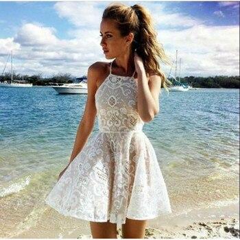 cc7ae9b2 Vestido de encaje blanco sexy de MUXU vestidos de moda sukienka kleider  verano Vestido corto tejido ropa mujer patchwork vestido de tirantes