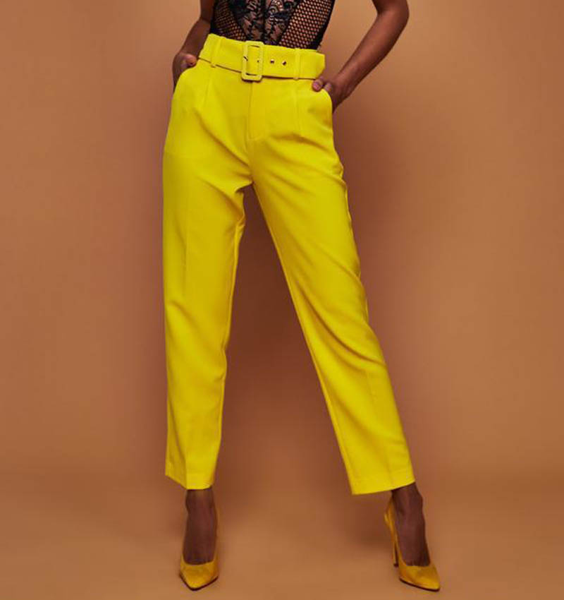 2019 Office Lady Casual High Waist Belted Straight Pants Elegant Solid Color Suit Pants For Women