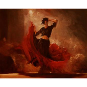 Decorative art dancer under spotlight hand painted portraits paintings woman oil on canvas for wall decor