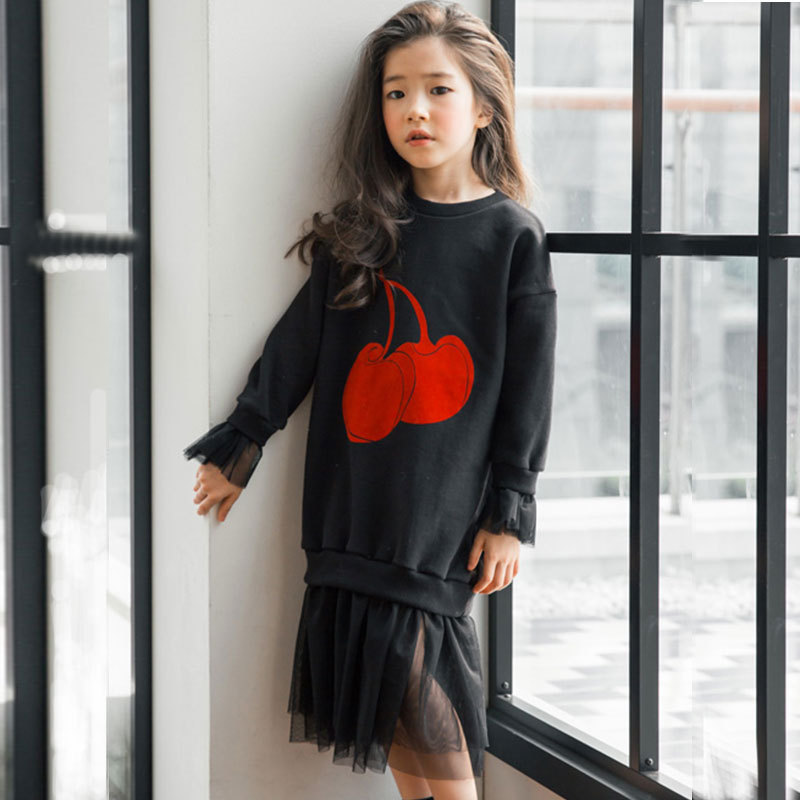 7d2cb141d Nuevos vestidos grandes de otoño para niñas adolescentes vestido de malla  de retazos de manga larga para niños sudaderas con capucha vestido de ...