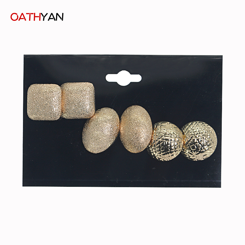 OATHYAN Gold-color Scrub Stud Earring Set For Women New Arrival 3 Pairs/Lot Punk Style Classic Fashion Jewelry Earring Set Mix
