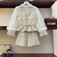 2018 Autumn Winter Ladies Small Fragrance Clothes Sets New Fashion Lace Shirt + sling Tweed Vest Coat + Shorts 3 Pieces Set