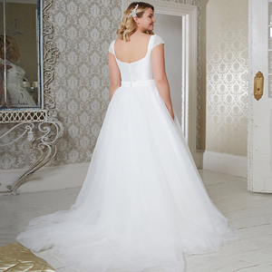 Image 5 - Jiayigong Elegant CAP Sleeve PLUS ขนาดงานแต่งงาน Vestido De Novia Beading แขนเลื่อม Tulle A Line ชุดเจ้าสาว
