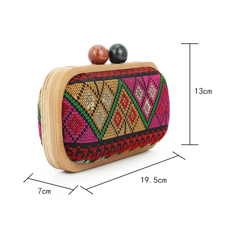 Wooden Frame Geometric Pattern Evening Clutch Bag For Women Lady